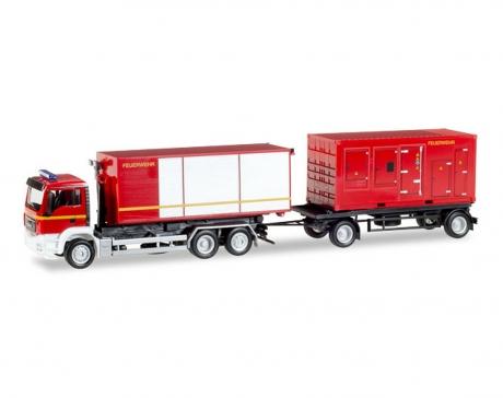 """MAN TGS M Euro 5 Hakenlift-Hängerzug mit Stromaggregat und Container """"Feuerwehr"""""""
